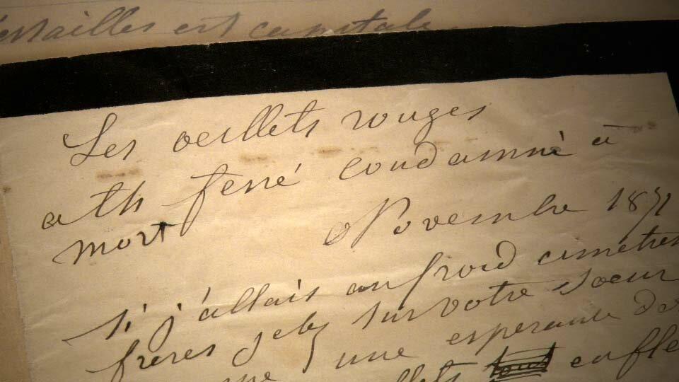 """Manuscrit du poème de Louise Michel """"Les œillets rouges"""""""