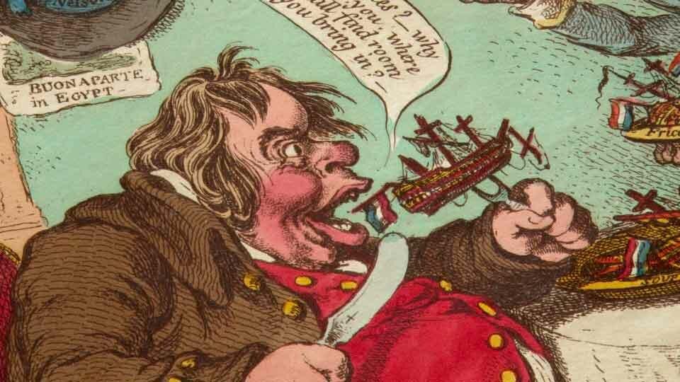 Caricature anglaise du 19e siècle montrant le Premier Ministre de l'époque dévorant la flotte française